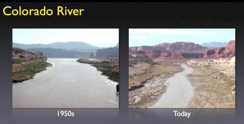 De Colorado-rivier wordt bijna volledig gebruikt voor irrigatie. Over de hele wereld zijn dit soort desastreuze keuzes gemaakt. De Aral-zee in de voormalige Sovjetunie is daar het meest heftige voorbeeld van.